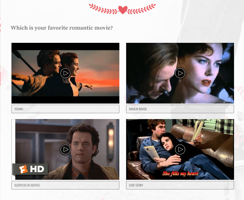Image of Valentine's Day quiz question with video clips from romantic films