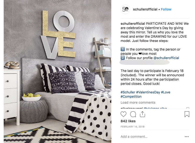 Image of homeware brand Valentine's Day giveaway on Instagram