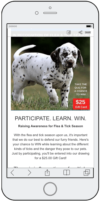 Image of multiple choice quiz about dogs with gift card prize