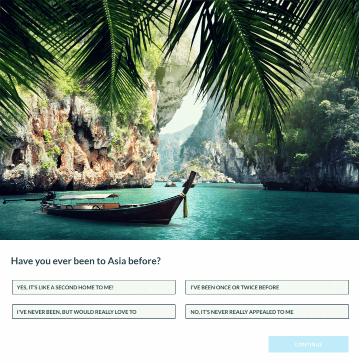 Image of multiple choice quiz about tourism with landscape photo