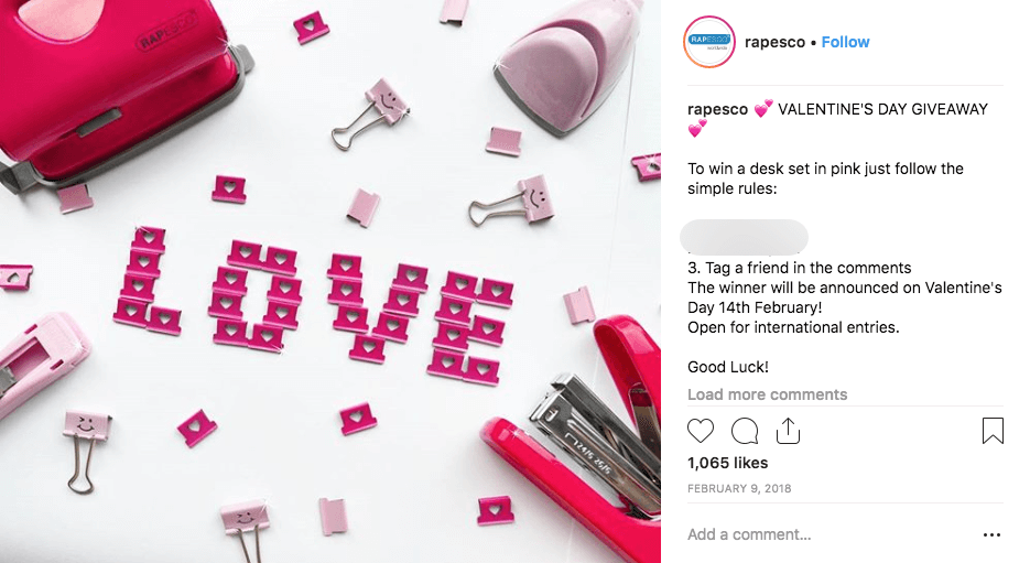 Instagram Valentine's Day giveaways