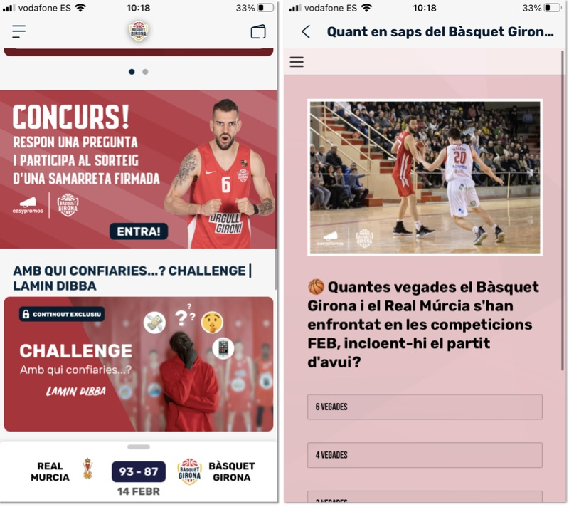 Increase app downloads in app promotion, example from a mobile application from Basquet Girona