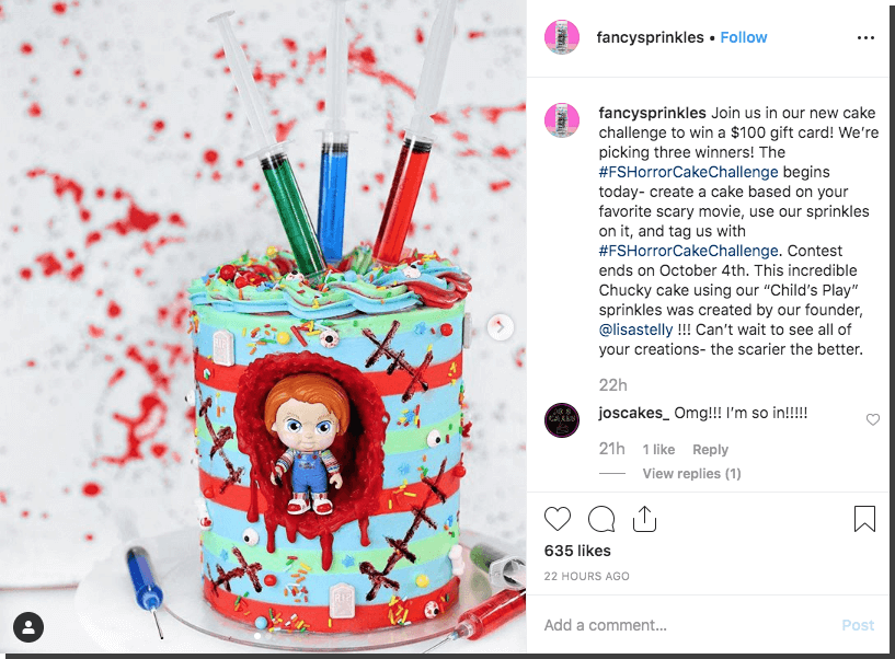Instagram Halloween giveaway cake contest