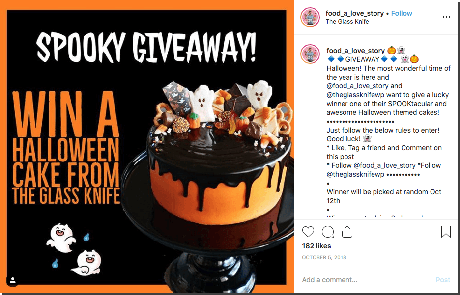 Instagram Halloween giveaway cake
