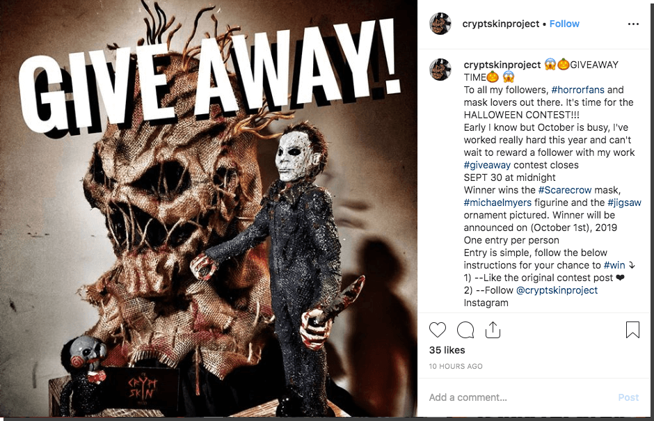 Instagram Halloween giveaway costumes