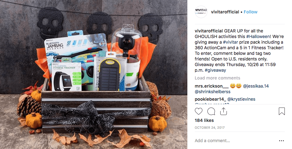 Example of a Halloween giveaway on social media: this INstagram post shows a prize pack of sports equipment decorated with Halloween colors and symbols.