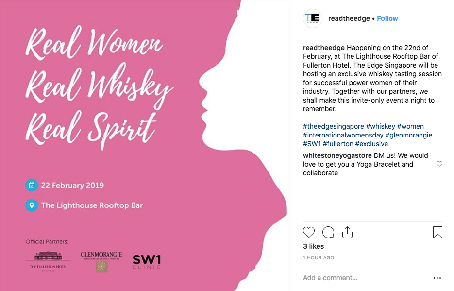 Instagram post to promote a corporate event for International Women's Day
