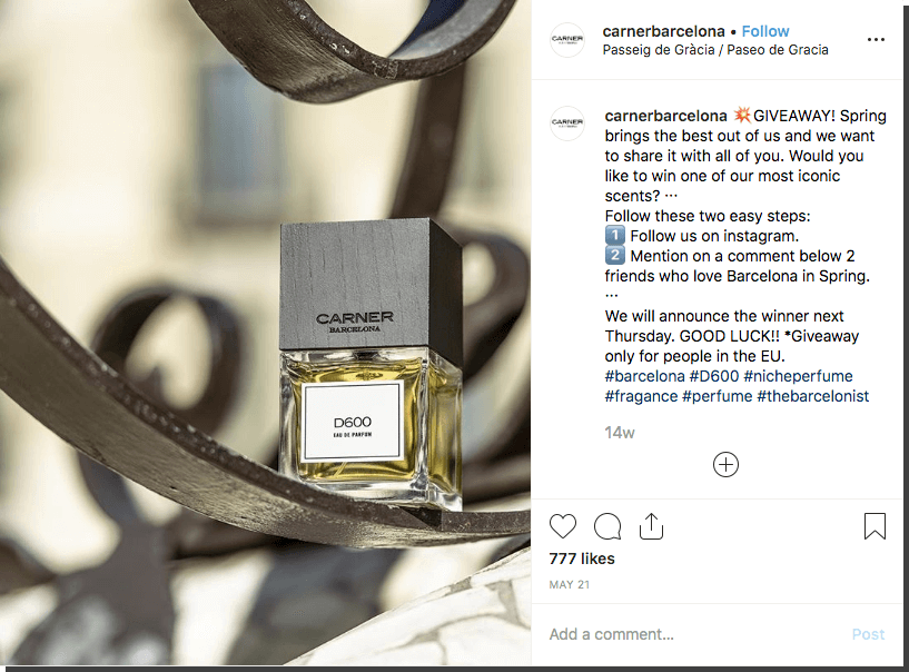 Spring giveaway ideas for Instagram: in this example, a perfume brand invites users to comment and tag friends for the chance to win a spring scent.