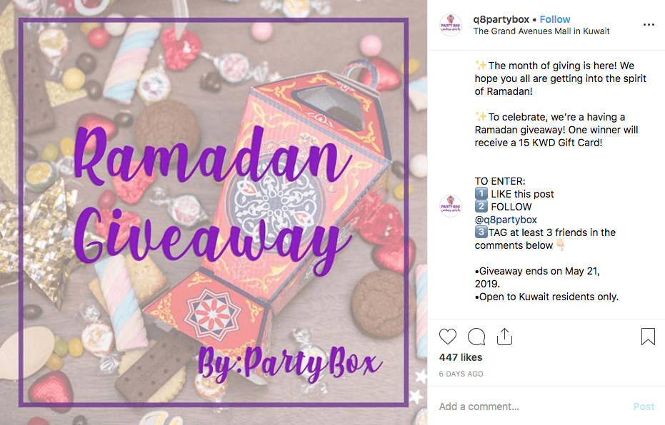 Screenshot of a Ramadan giveaway on Instagram. The caption explains that the brand celebrates this month of giving by giving away a gift card. Users can win by liking, following, commenting and tagging 3 friends. Then they can spend the gift card on party materials for Eid.