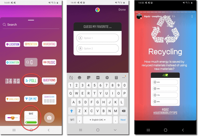 quizzes for social media. screenshot of instagram polls and quizzes