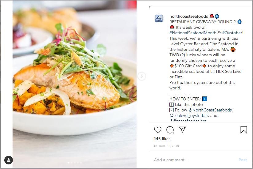 instagram restaurant giveaway