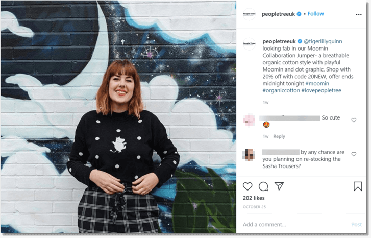 Screenshot of an Instagram post from fashion brand People Tree. The image is a photo originally posted by an Instagram influencer, showing some of People Tree's products.