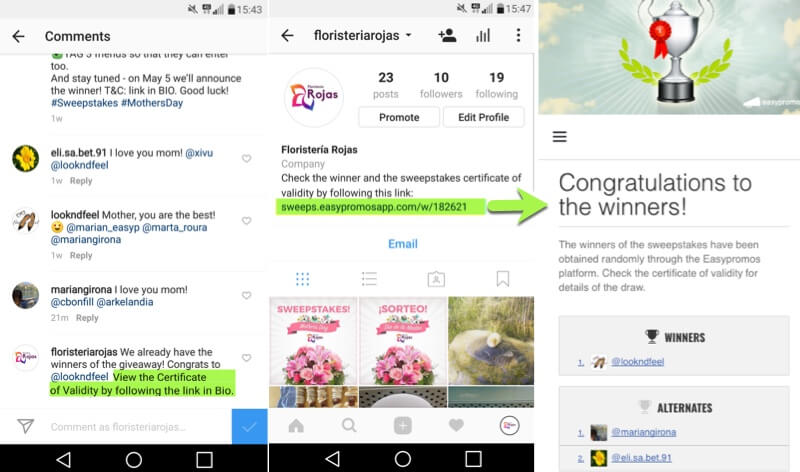 How to pick a winner on Instagram. Screenshot of Instagram posts where a brand shares the Certificate of Validity in comments and bio.