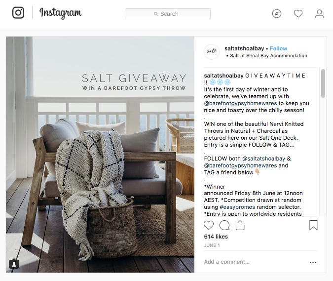 Instagram winter giveaway home