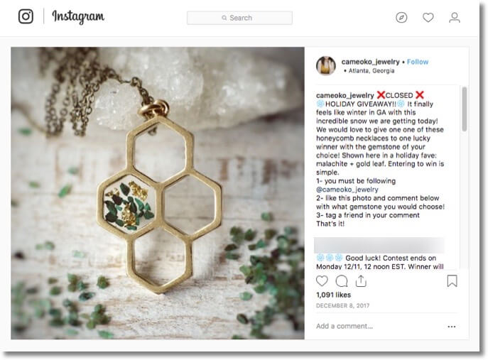 Instagram winter giveaway jewellery