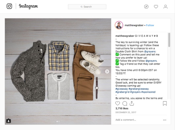 Instagram winter giveaway fashion
