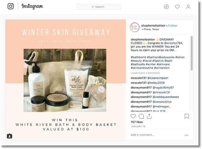 Instagram winter giveaway health beauty