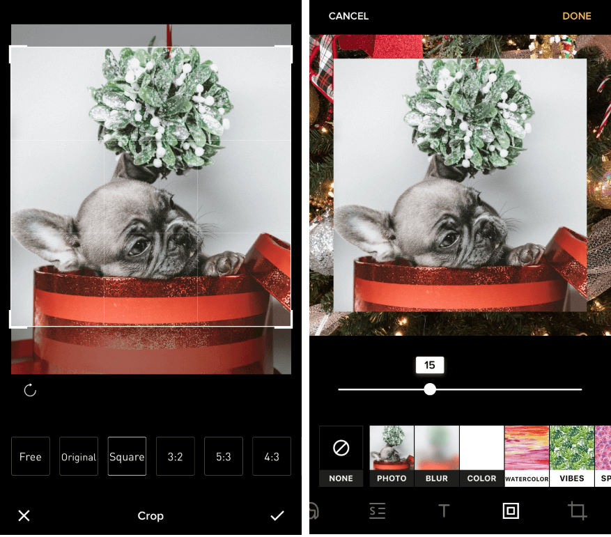 Screenshots of a photo being edited in Instasize. 1: user selects from free, original, square, or other dimension formats. 2: user selects from photo, blur, color, watercolor, and other border styles.