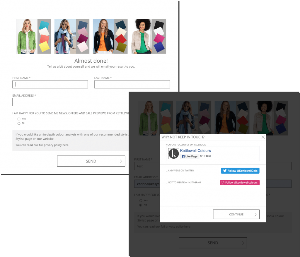 Kettlewell product recommender with email and social media follow up