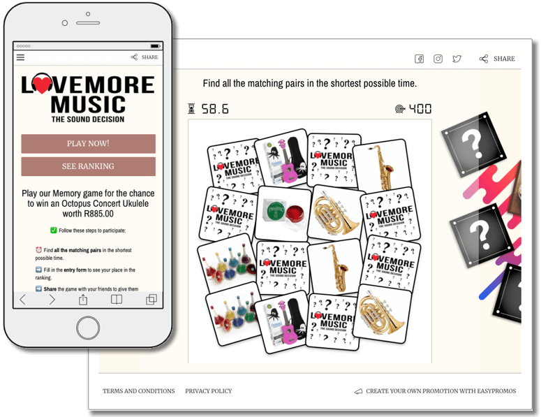 Customer retention strategy: branded mini game organized by Lovemore Music