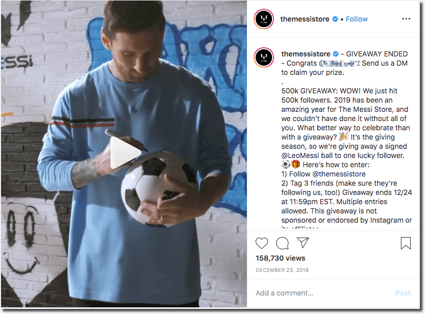 Engagement with social media giveaways, The Messi Store