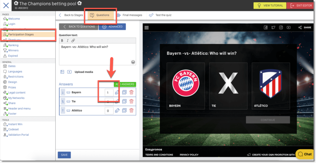 Screenshot of the Multi-Round Predictions application showing how users can update the scores of the matches and other sporting events once they know the results.