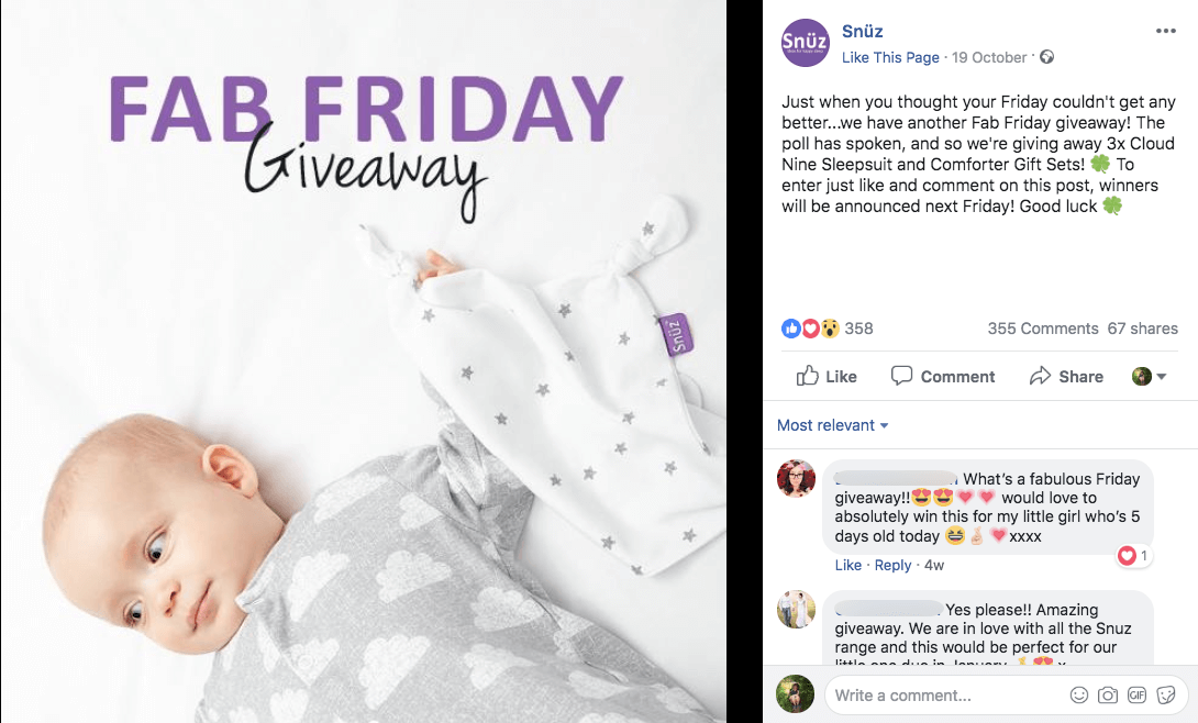 Multi-network social media giveaways clothes kids Facebook Snuz