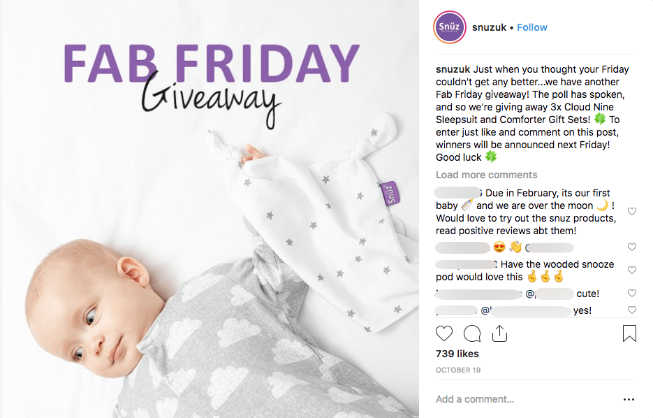 Multi-network social media giveaways clothes kids Instagram Snuz