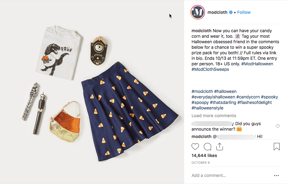 Multi-network social media giveways fashion Modcloth Instagram