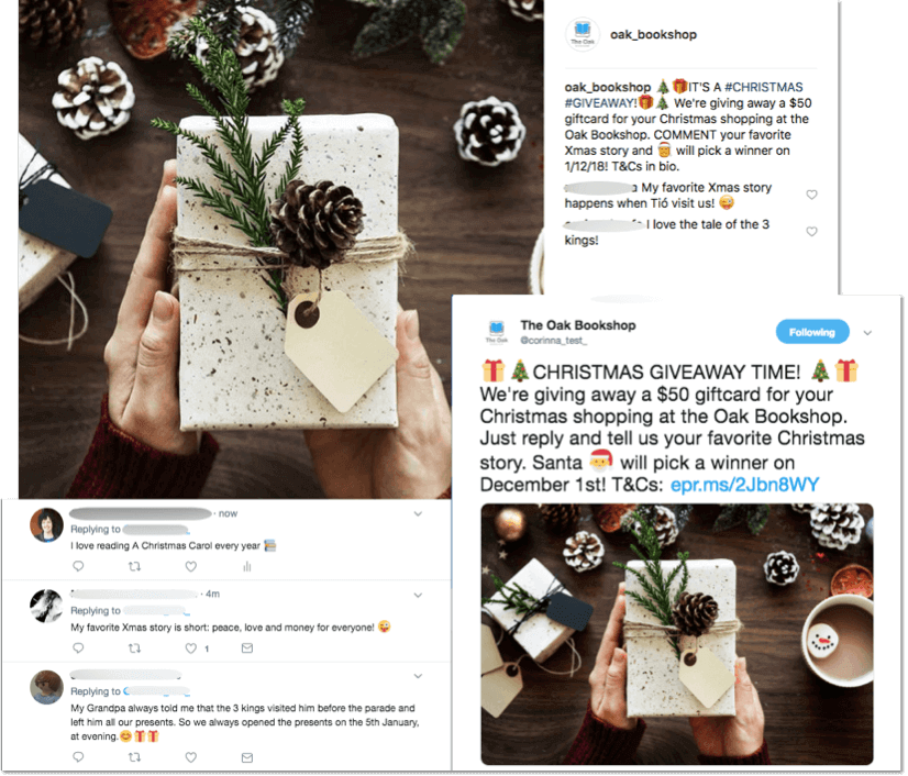 Multinetwork Instagram Twitter comments Christmas promotions
