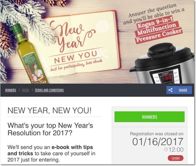 New Year's Eve promotion ideas: writing contest