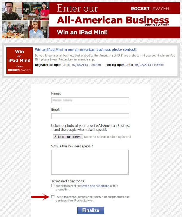 Newsletter verification field