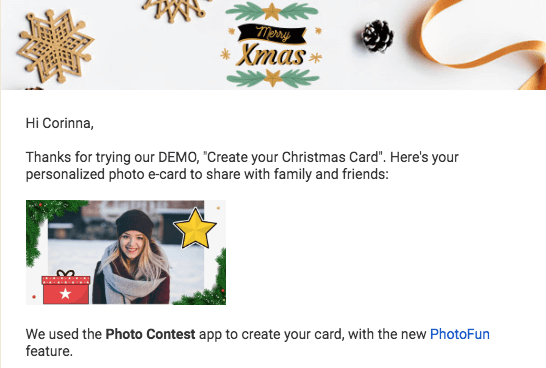 PhotoFun Christmas email