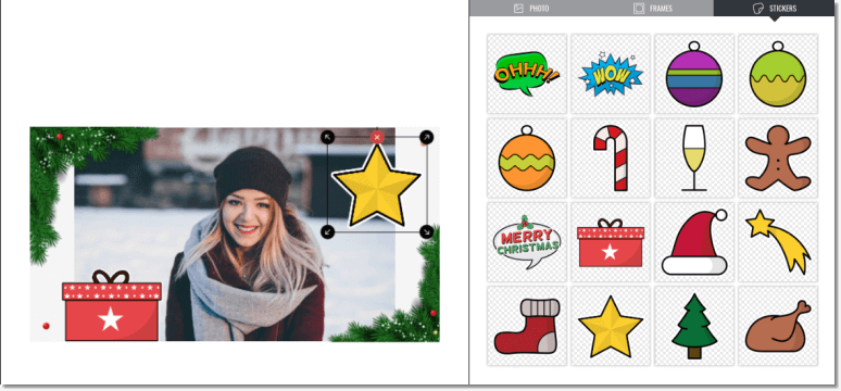 Christmas promotion ideas for 2020: screenshot of branded Christmas photofun from Easypromos