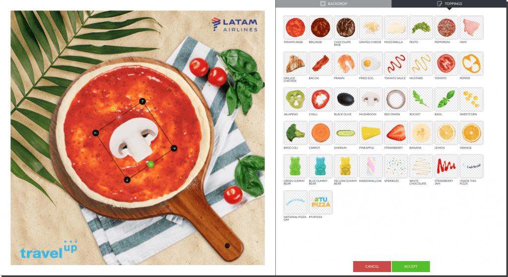 scenes app promotions, example from travelup and their pizza contes