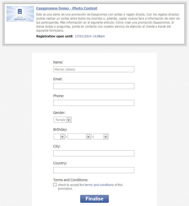 Predefined fields of the registration form