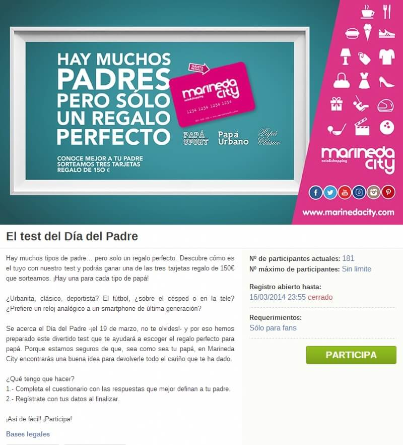 Screenshot of the Father's Day personality quiz from Marineda City. The front page of the promotion explains the rules and advertizes the mall's website.