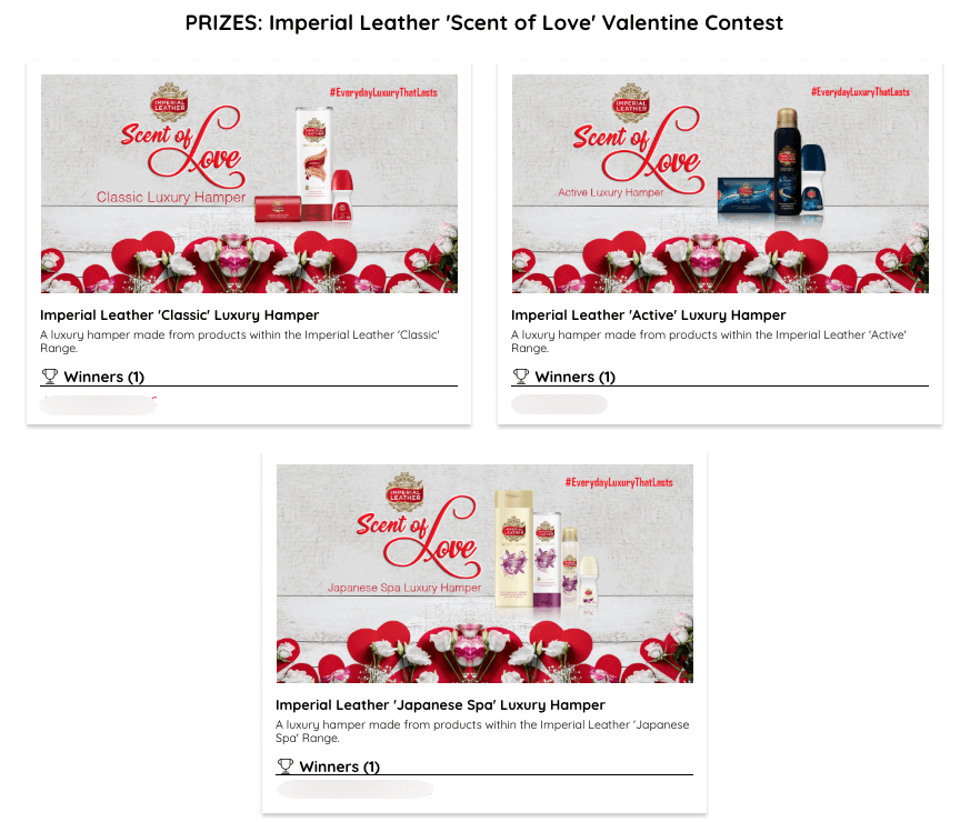 Prizes of Valentine's Day photo contest for beauty products