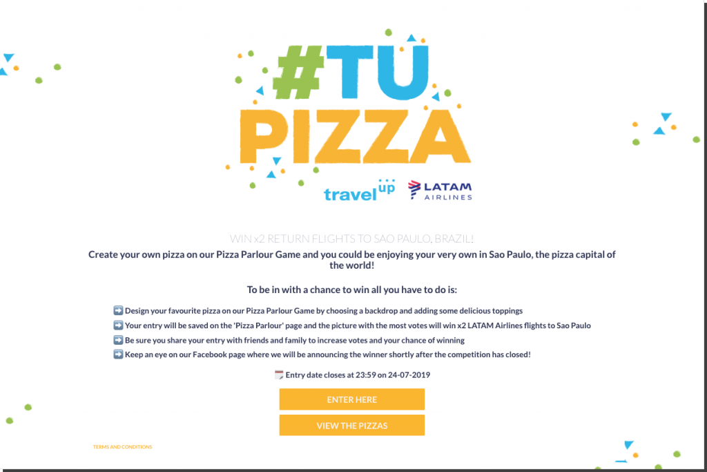 "Landing page of the TravelUp Scenes contest, titled ""Tu Pizza"". Users design a pizza and collect votes to win flights to Sao Paulo."