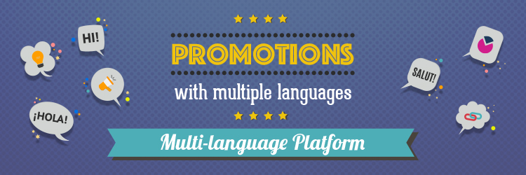 Promotions and contests with multiple languages