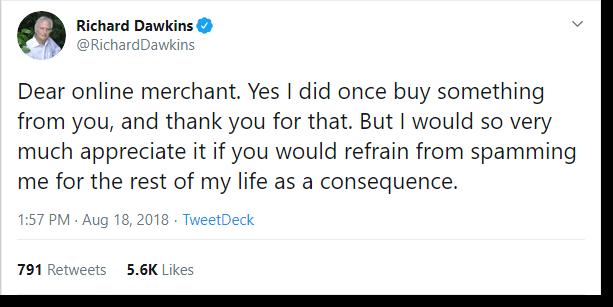 Richard Dawkinds data marketing tweet