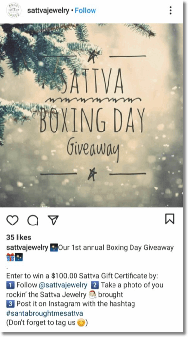 Screenshot of a Boxing Day giveaway on Instagram. Users can win a $100 gift certificate by posting a photo of themselves wearing the brand's jewelry.