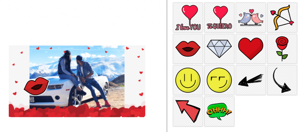 Screenshot of PhotoFun editor for Valentine's Day photo contest