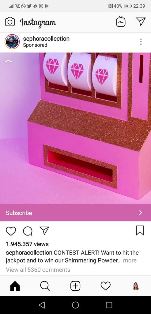 Screenshot of an Instagram Ads post by beauty brand Sephora. The image shows a pink casino machine with a link inviting followers to subscribe to win.