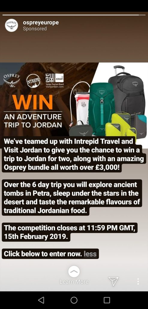 Instagram Story announcing a giveaway in collaboration with 2 other brands. The Story gives details of the contest and a link to enter, along with photos of the prize.