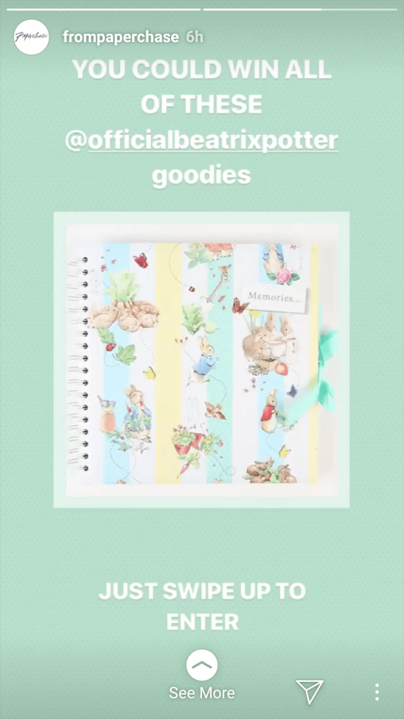 "Instagram Story by Paperchase. The image shows a Peter Rabbit notebook, and the overlaid text reads ""You could win all of these official Beatrix Potter goodies""."