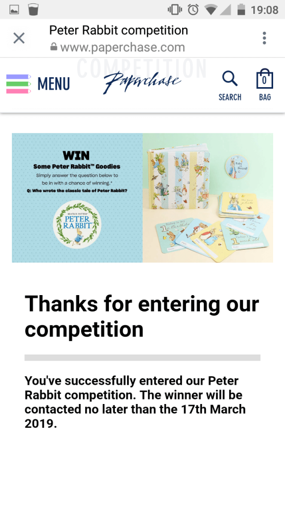 Screenshot of the Paperchase Peter Rabbit competition when users tap the Story link to enter.