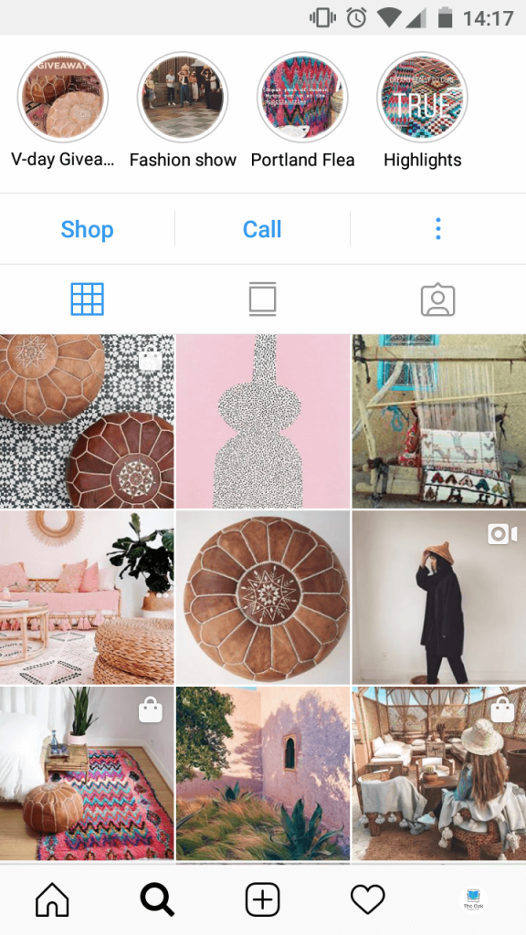 Screenshot of an Instagram profile page, showing a giveaway in the Highlighted Stories as well as profile posts.