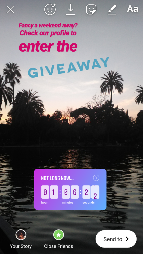 "Screenshot of an Instagram Story. The image shows a lake at sunset, with a countdown sticker. The overlay text reads: ""Fancy a weekend away? Check our profile to enter the giveaway. Not long now..."""