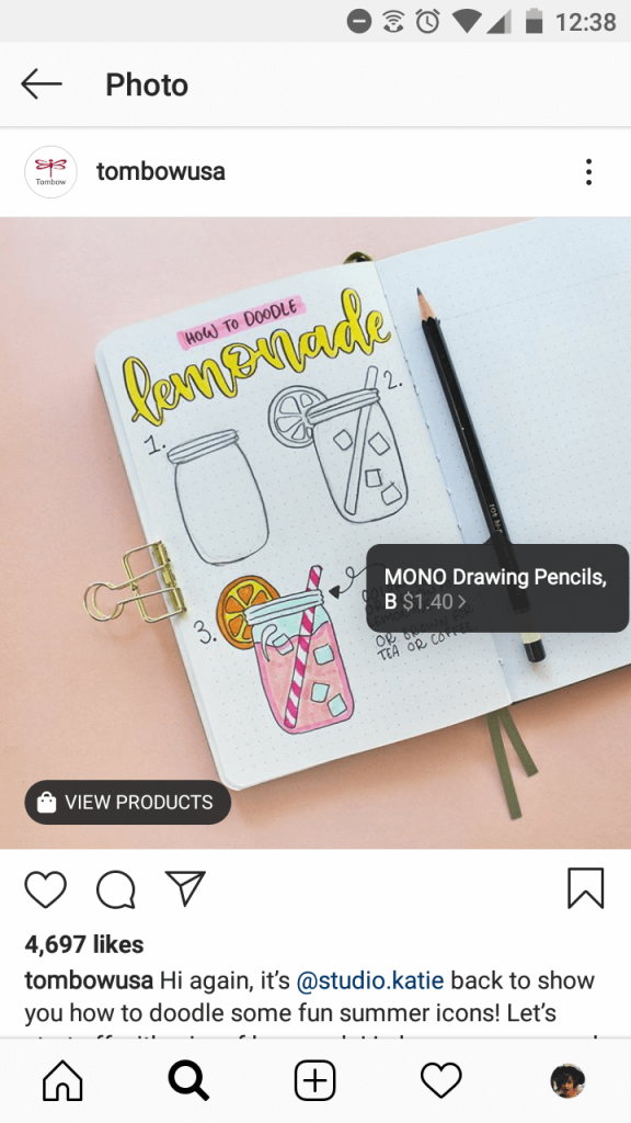 Screenshot of a shoppable post from Tombow USA. The image shows a notebook with some sketches of lemonade in a jar, and the pencil used for the sketch. The pencil is tagged with a label that users tap to shop.